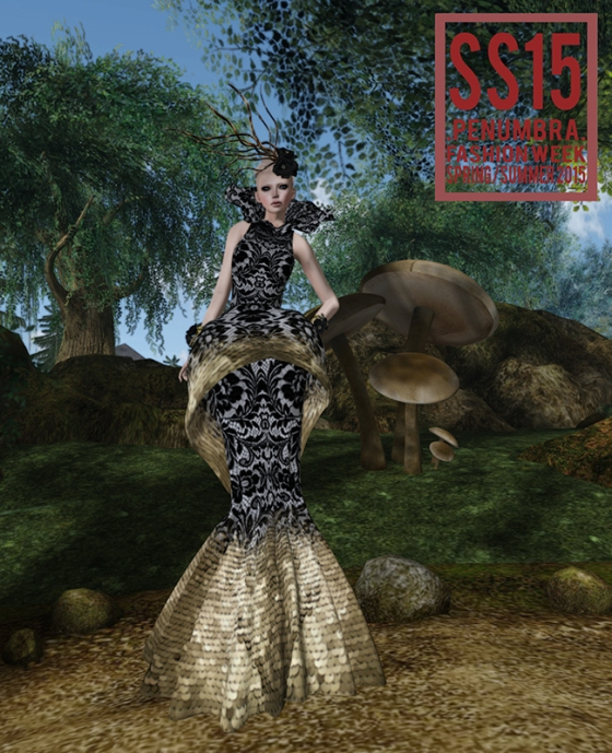 JUMO Madame Gown in Black and Gold Penumbra SS15