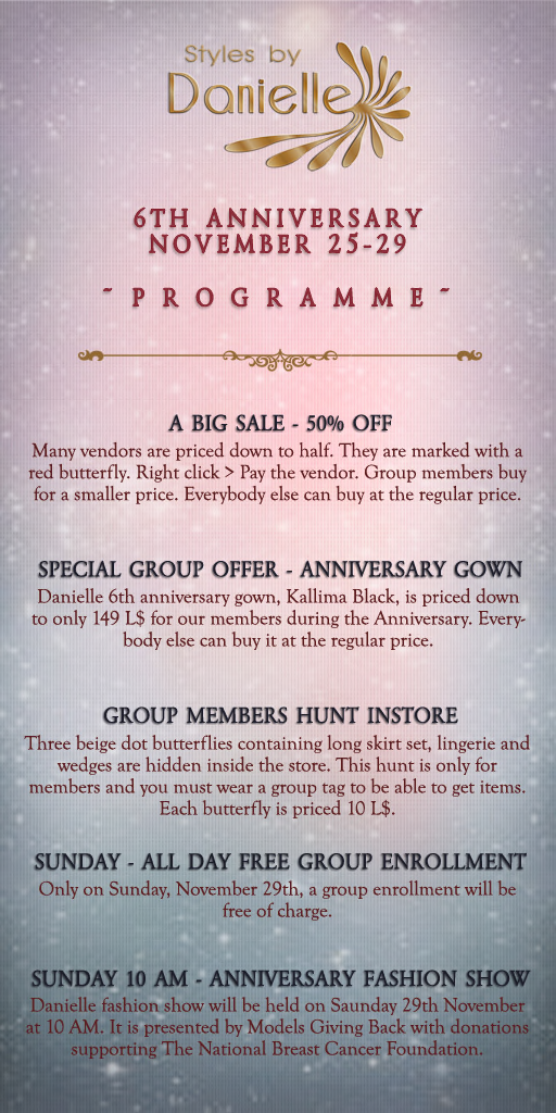 Danielle 6th Anniversary Programme